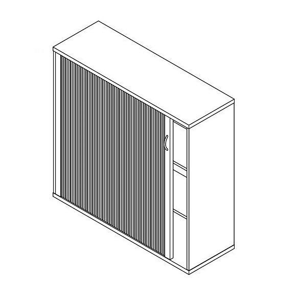 111-RED-80-B redőnyös irodaszekrény jobbos kivitelben - 3 fakk