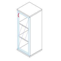117-1Ü-B-ALU üvegajtós-polcos alukeretes feles irodaszekrény balos kivitelben - 3 fakk