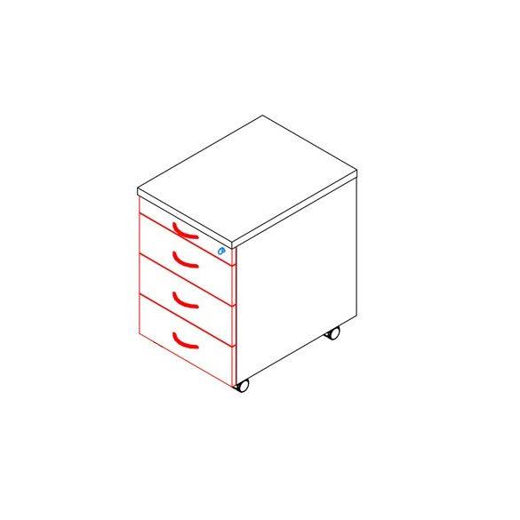 85-1C/3F-FÉ konténer - 1 ceruzatartó, 3 fiók