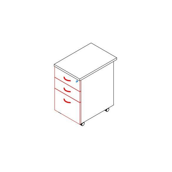 88-2F/1R-FÉ konténer - 2 fiók, 1 rendező