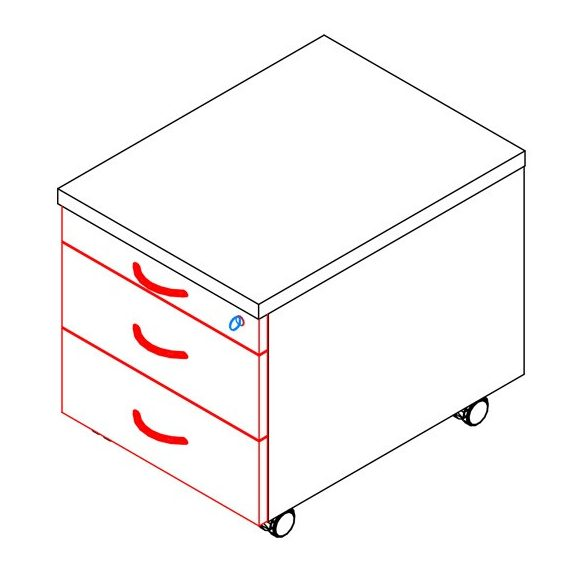 90-1C/2F-FÉ konténer - 1 ceruzatartó, 2 fiók
