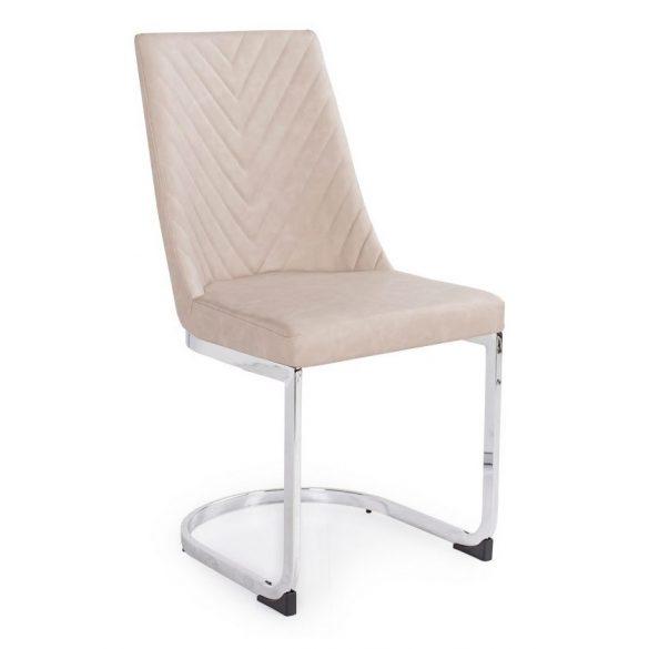 D - Ester szánkótalpas szék krómozott lábakkal és bézs műbőrrel