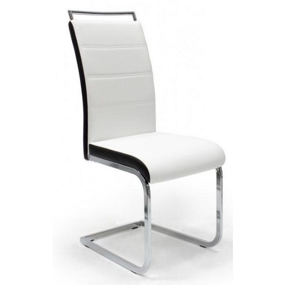 D - Szava szánkótalpas krómvázas szék fehér műbőrrel