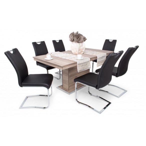 D - Mona szánkótalpas krómvázas szék fekete műbőrrel
