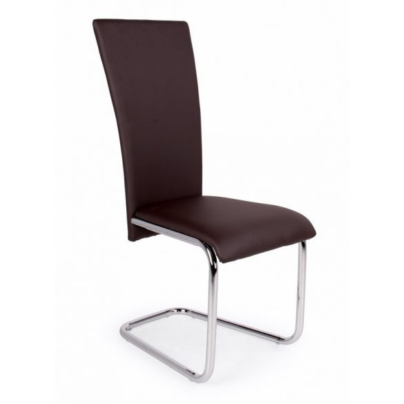 D - Paulo szánkótalpas krómvázas szék barna műbőrrel