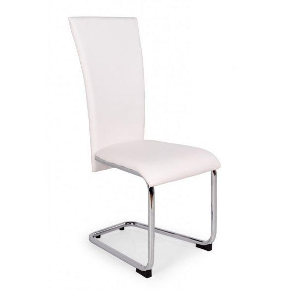 D - Paulo szánkótalpas krómvázas szék fehér műbőrrel