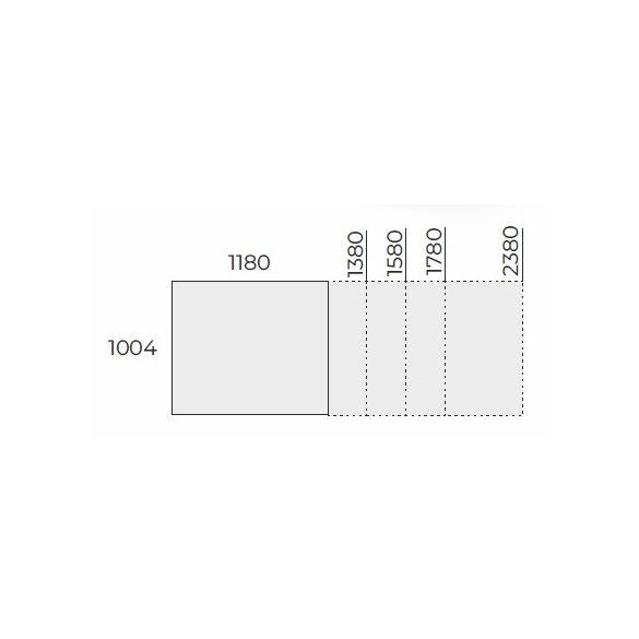EX TCK 238/100 szögletes laplábas tárgyalóasztal
