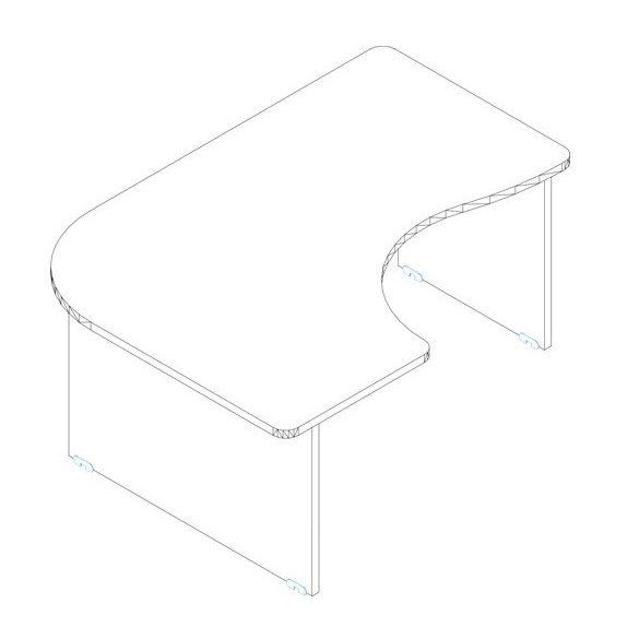 GE 200/120 íróasztal balos kivitelben