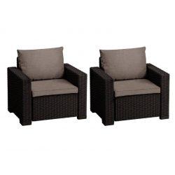 C - California műrattan kültéri/kerti fotel 2 db - sötétbarna színben