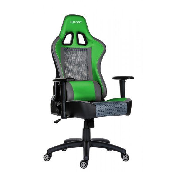 A - GameBoost gamer szék - zöld színben
