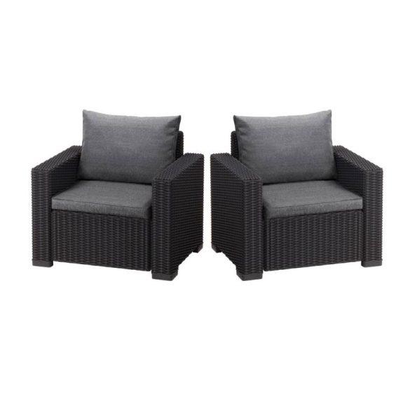 C - California műrattan kültéri/kerti fotel 2 db - sötétszürke színben