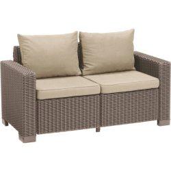 C - California műrattan kültéri/kerti 2 személyes kanapé - beige színben