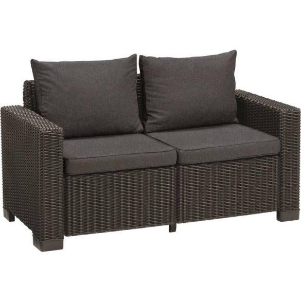 C - California műrattan kültéri/kerti 2 személyes kanapé - sötétszürke színben