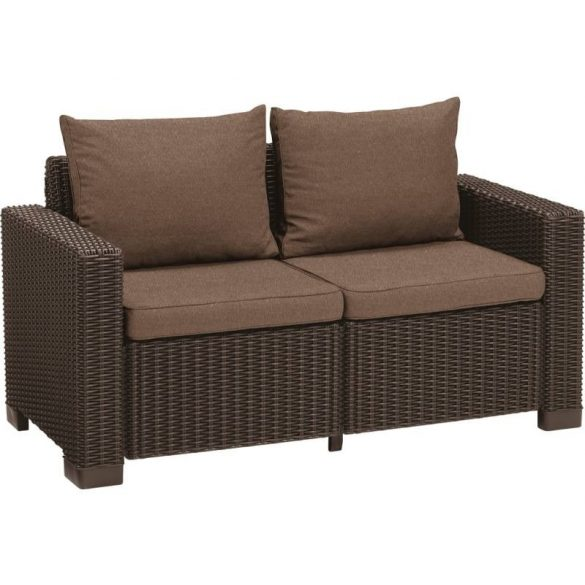 C - California műrattan kültéri/kerti 2 személyes kanapé - sötétbarna színben