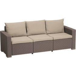 C - California műrattan kültéri/kerti 3 személyes kanapé - beige színben