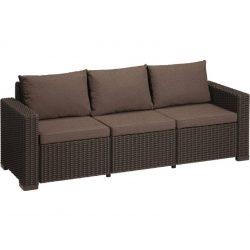 C - California műrattan kültéri/kerti 3 személyes kanapé - sötétbarna színben