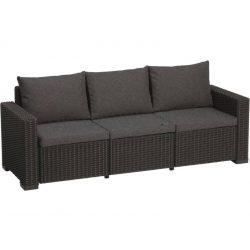 C - California műrattan kültéri/kerti 3 személyes kanapé - sötétszürke színben