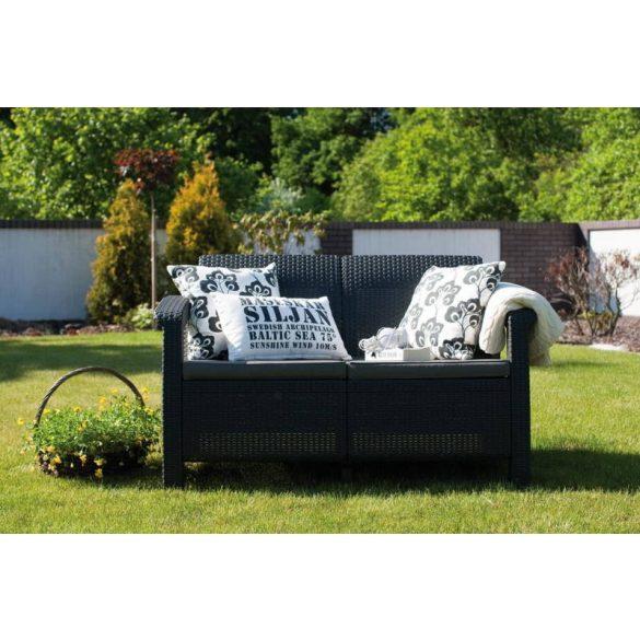 C - Corfu love seat műrattan kültéri/kerti kanapé - sötétszürke színben
