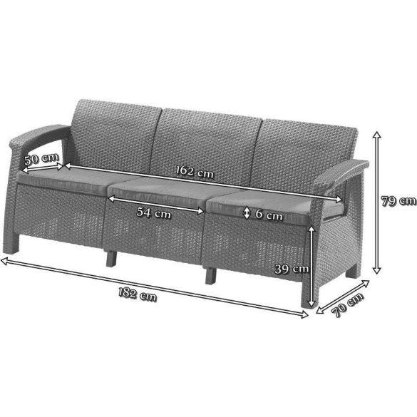 C - Corfu love seat műrattan kültéri/kerti kanapé - sötétbarna színben