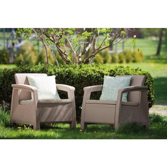 C - Corfu műrattan kültéri/kerti fotel - beige színben
