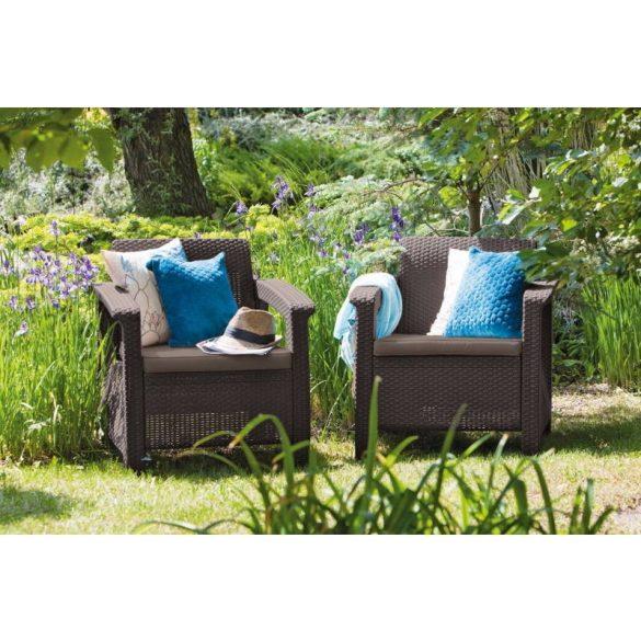 C - Corfu műrattan kültéri/kerti fotel - sötétbarna színben