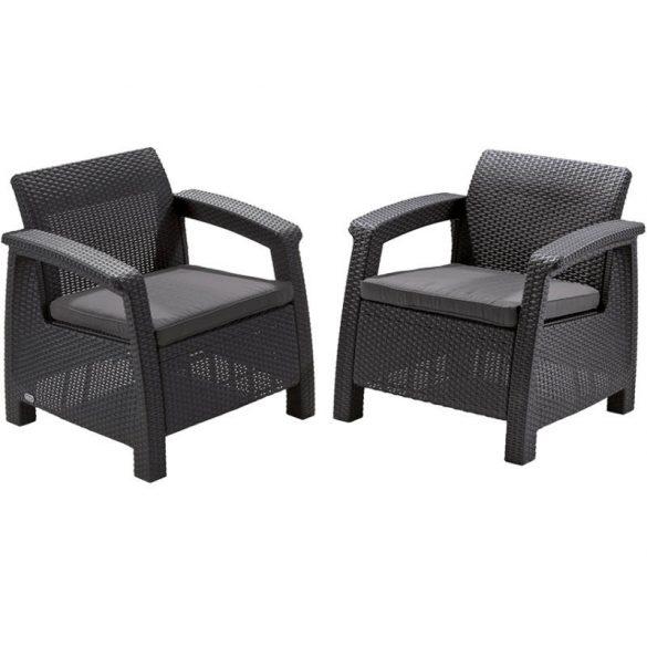 C - Corfu műrattan kültéri/kerti fotel - sötétszürke színben