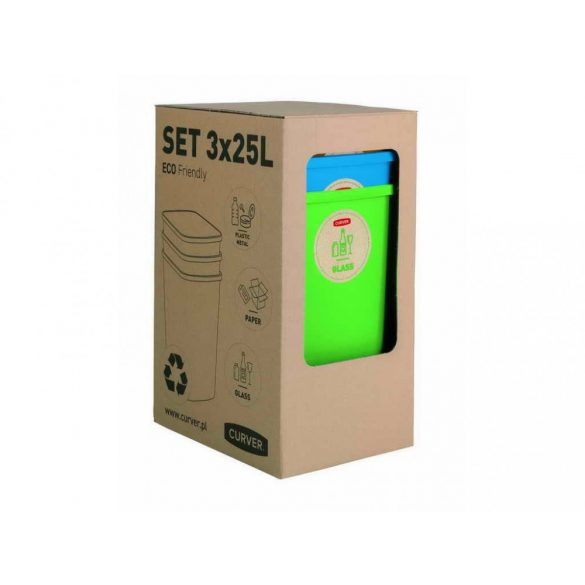 C - Eco szelektív szemetes 3x25L - 3 színben