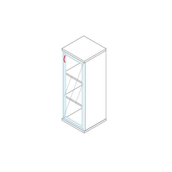 117-1Ü-J-ALU üvegajtós-polcos alukeretes feles irodaszekrény jobbos kivitelben - 3 fakk