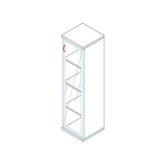 157-1Ü-J-ALU üvegajtós-polcos alukeretes feles irodaszekrény jobbos kivitelben - 4 fakk