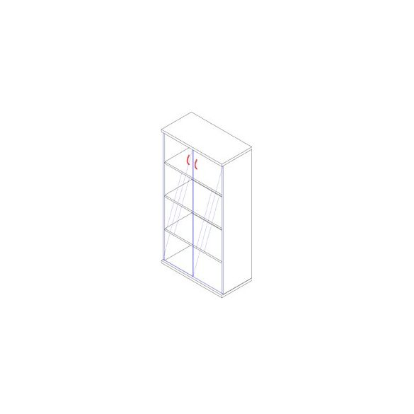 156-2A-Ü üvegajtós-polcos irodaszekrény - 4 fakk