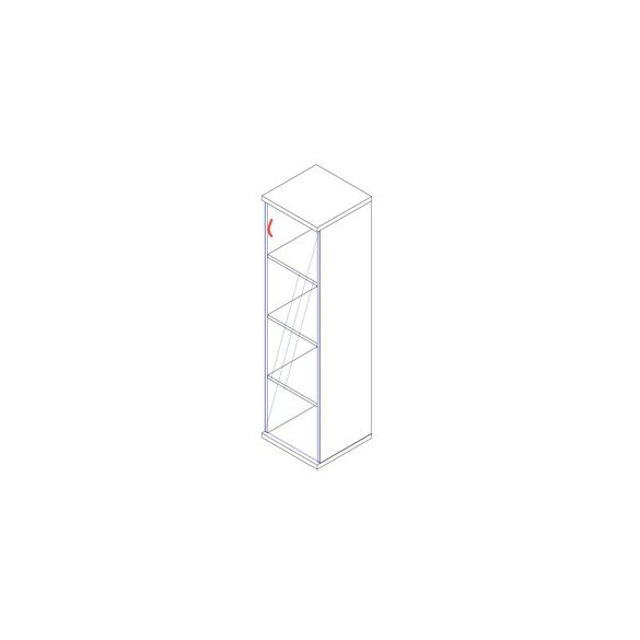 157-1Ü-J üvegajtós-polcos feles irodaszekrény jobbos kivitelben - 4 fakk