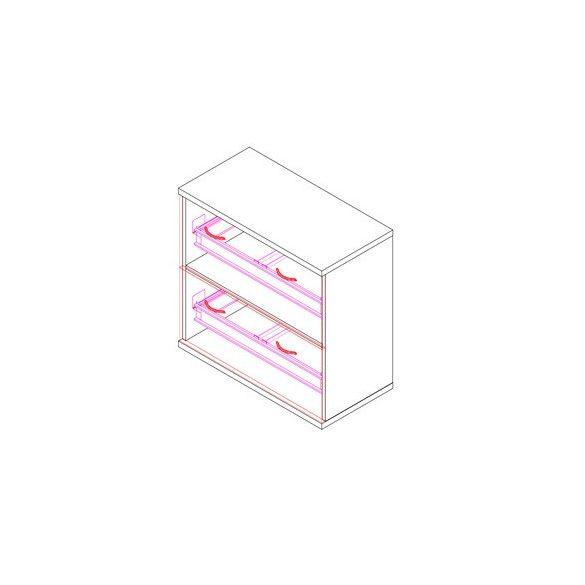 71-2F-REG regiszterfiókos irodaszekrény - 2 fiókos