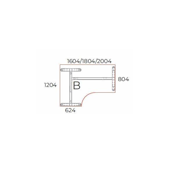 GA-180/120 LUX fémlábas íróasztal jobbos kivitelben