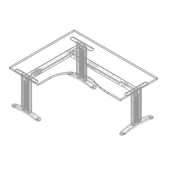 GB-160/120 LUX fémlábas íróasztal balos kivitelben