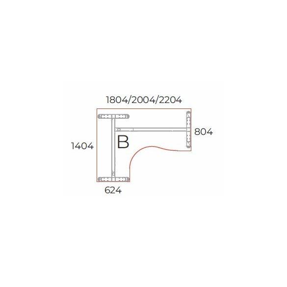 GB-200/140 lux fémlábas íróasztal balos kivitelben