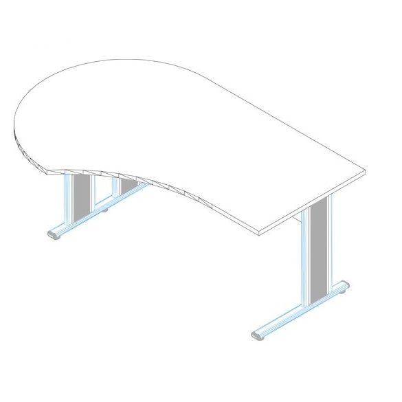 GF-180/120 fémlábas íróasztal balos kivitelben