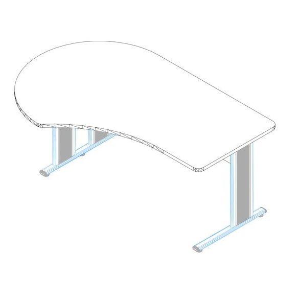 GG-180/120 fémlábas íróasztal balos kivitelben