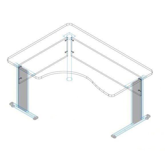 GI-160/120 fémlábas íróasztal balos kivitelben