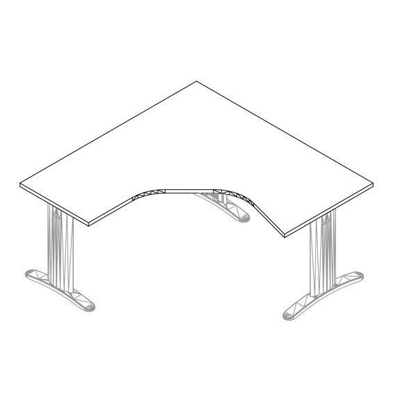 GM-160/160 LUX fémlábas íróasztal balos kivitelben