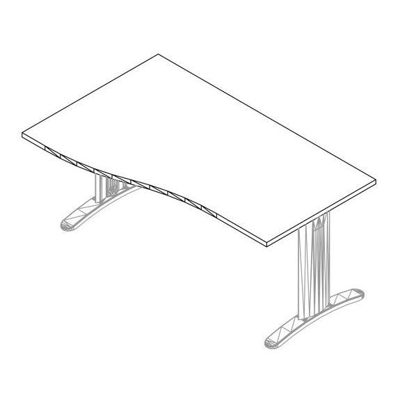 GN-180/100 LUX fémlábas íróasztal balos kivitelben