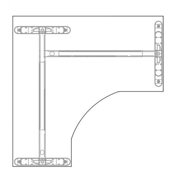 GS-160/160 LUX fémlábas íróasztal balos kivitelben