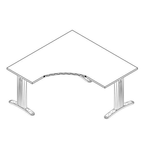 GS-180/160 LUX fémlábas íróasztal balos kivitelben