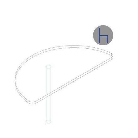 KHE 62/180° asztaltoldat