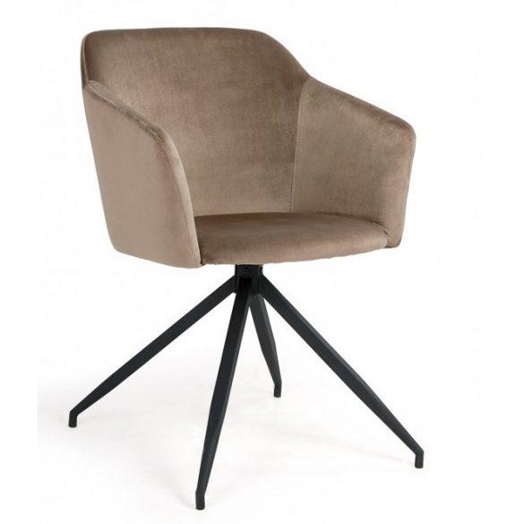 D - Charlotte fekete fémvázas szék barna plüssel