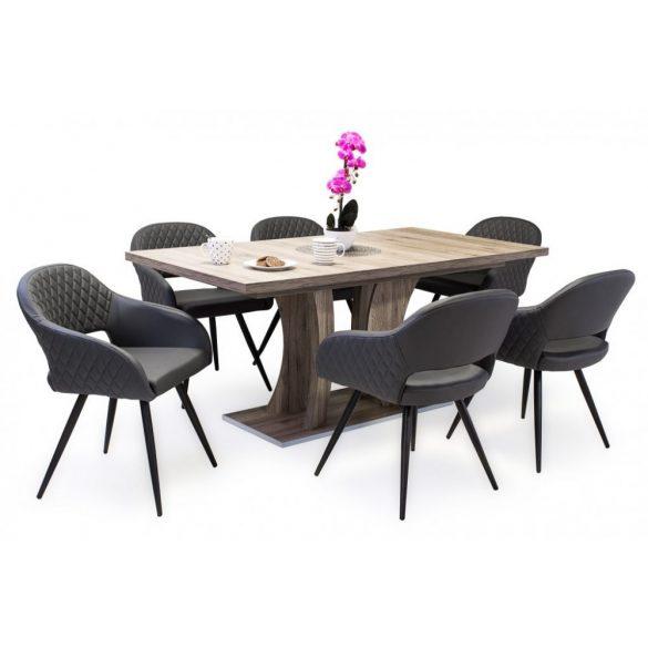 D - Cristal fekete fémvázas szék szürke műbőrrel