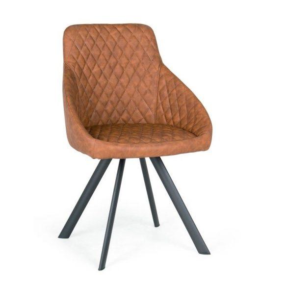 D - Domino fekete fémvázas szék barna műbőr kárpittal