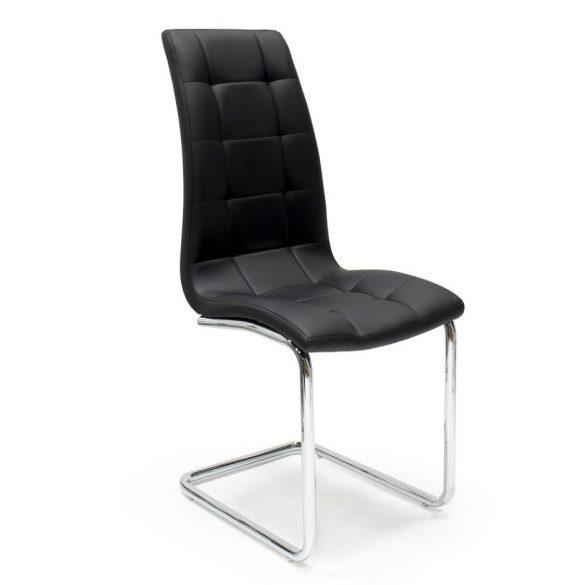 D - Emma szánkótalpas szék krómozott fém lábakkal és sötét bézs műbőrrel