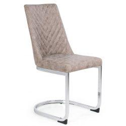 D - Ester szánkótalpas szék krómozott lábakkal és barna műbőrrel