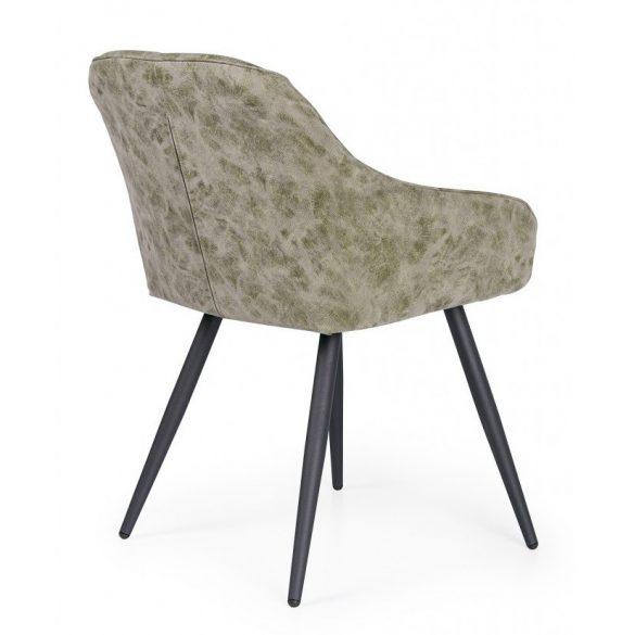 D - Monaco fekete színű fémvázas szék olajzöld műbőr kárpittal