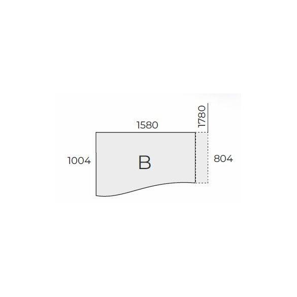 EX GN 158/100 fémlábas íróasztal balos kivitelben